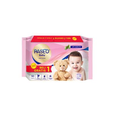 Paseo Baby Wipes With Chamomile  50 sheets BOGOF -  PINK